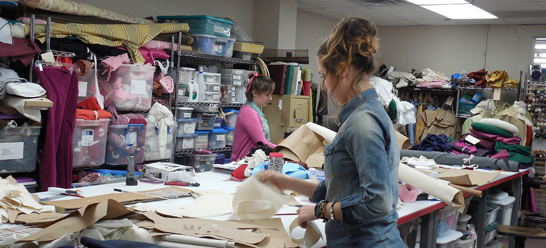 Mason theater students in costume shop